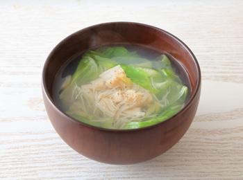 レタスと貝柱のスープ