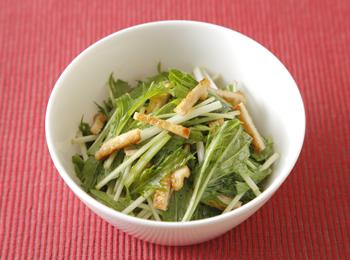 水菜と焼き油あげのサラダ