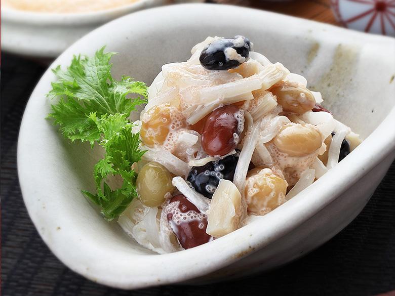 シャキシャキ大根と蒸し豆のサラダ